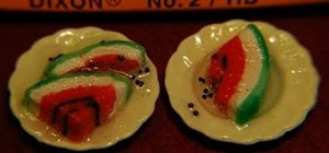 Make a mini polymer clay watermelon for a dollhouse