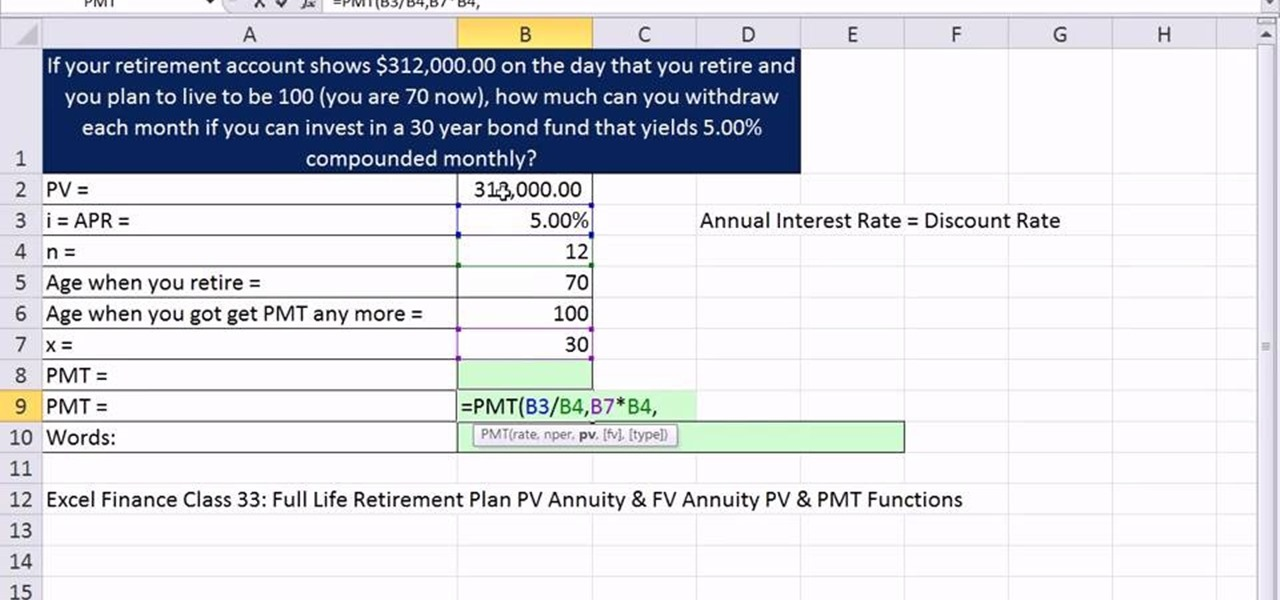 To Calculate Monthly Retirement Income In Microsoft Excel