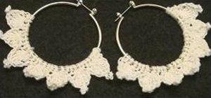 Make a scalloped crochet hoop earring