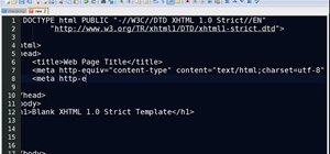 Use Notepad++ to create an XHTML 1.0-strict template