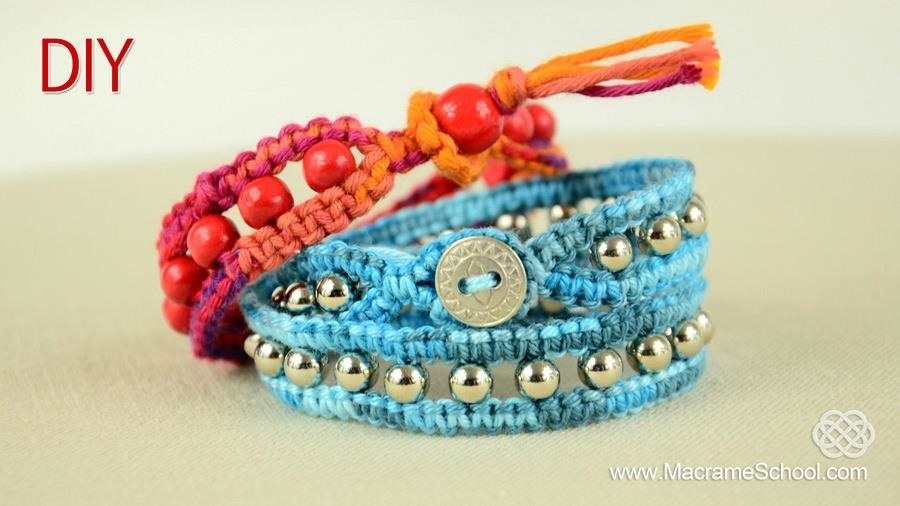 DIY Beaded Wrap Bracelet with Square Knot and Button Clasp