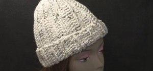 Crochet a full-sized stocking hat using a rib stitch