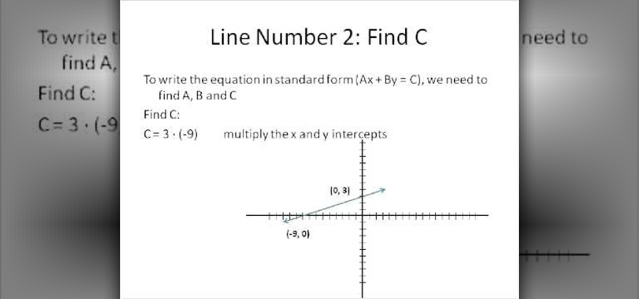 How To Solve Standard Form Linear Equations In Algebra 1 Math