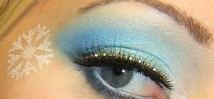 Create a sparkly blue, snowflake-embellished winter eye look