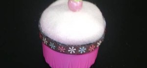 Make a detergent cap cupcake pincushion with the kids