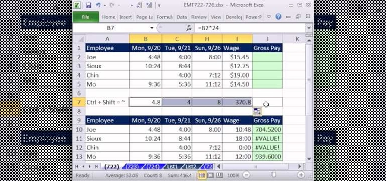 How To Calculate Weekly Gross Pay From Time Values In