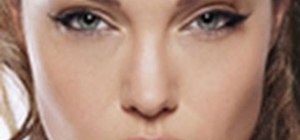 Create Angelina Jolie's signature cat eyes and perfect skin