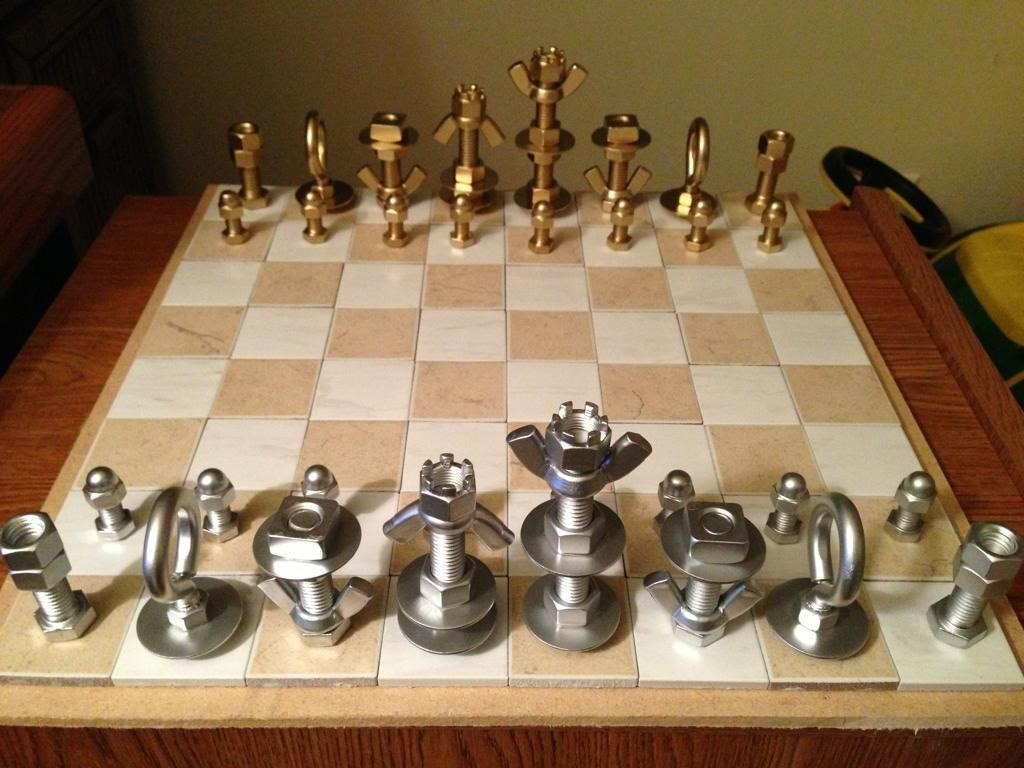Nice Chess Boards How To Make A Macgyverstyle Chess Set Using Just Nuts & Bolts