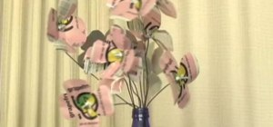 Make an aluminum flower bouquet out of soda cans