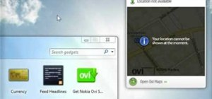 Use the Maps gadget on a Nokia Booklet 3G netbook to identify your location