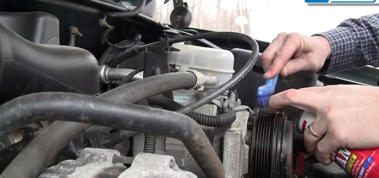 Quiet a Squeaky Engine Serpentine Belt by Cleaning.