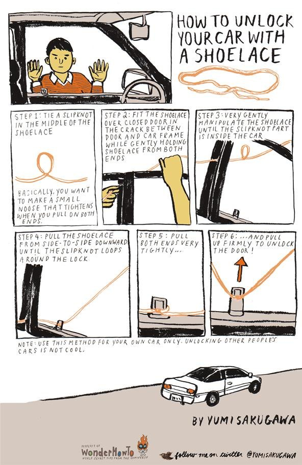 how to unlock your car with a shoelace the secret yumiverse. Black Bedroom Furniture Sets. Home Design Ideas