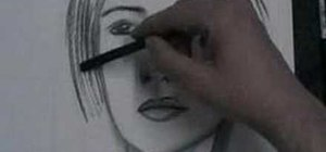 Draw a face using charcoal