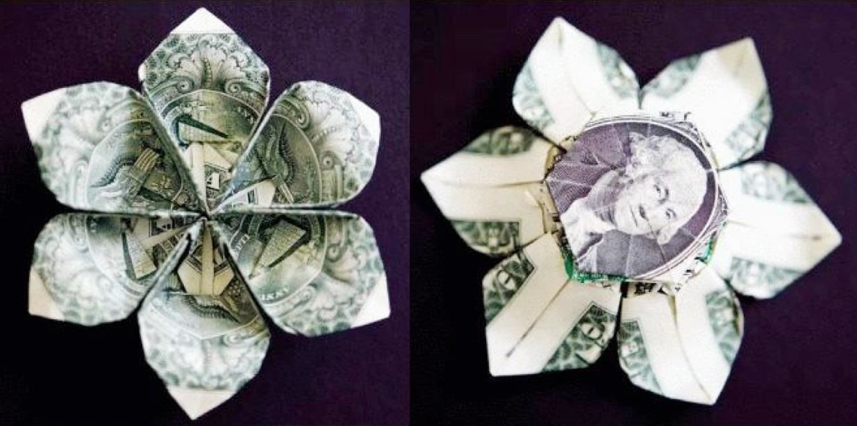 Money origami flower edition 10 different ways to fold a dollar the three dollar flower mightylinksfo