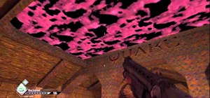 Find three areas in Rage that reference Wolfenstein 3D, Quake, and Doom