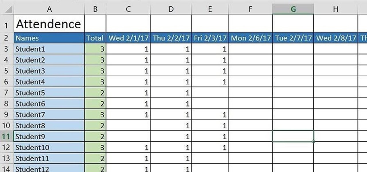 how to create a basic attendance sheet in excel microsoft office wonderhowto. Black Bedroom Furniture Sets. Home Design Ideas