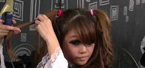 Create teased Lolita pigtails with curls and volume