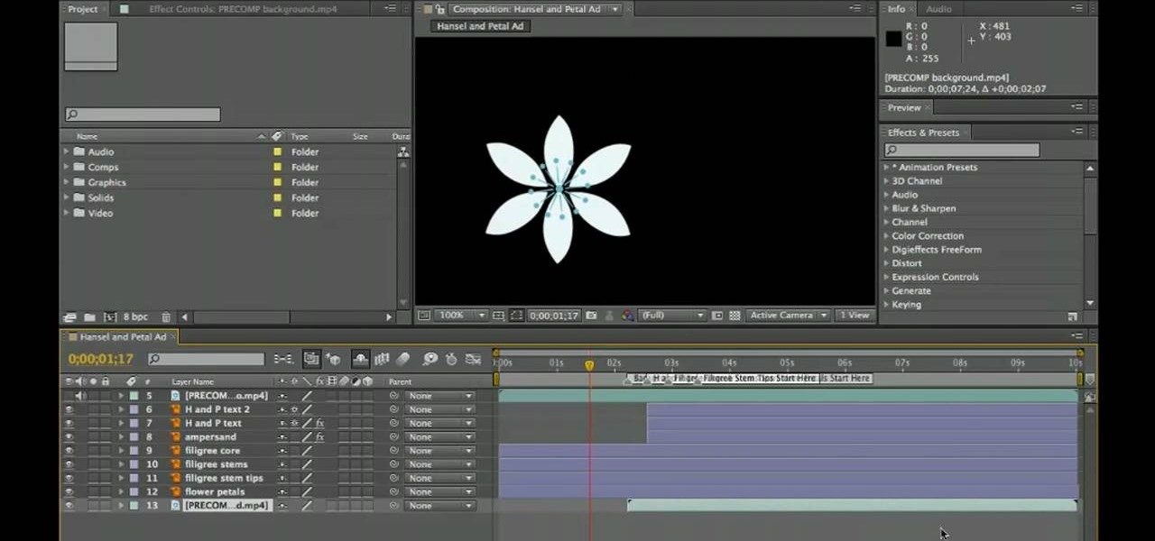 Visual effects and motion graphics software