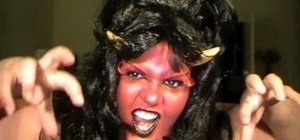Create a horned she-devil makeup look for Halloween