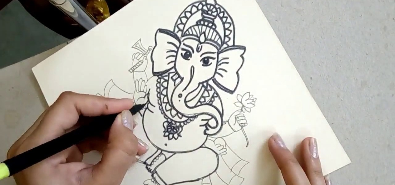 Draw the sitting hindu god ganesha step by step