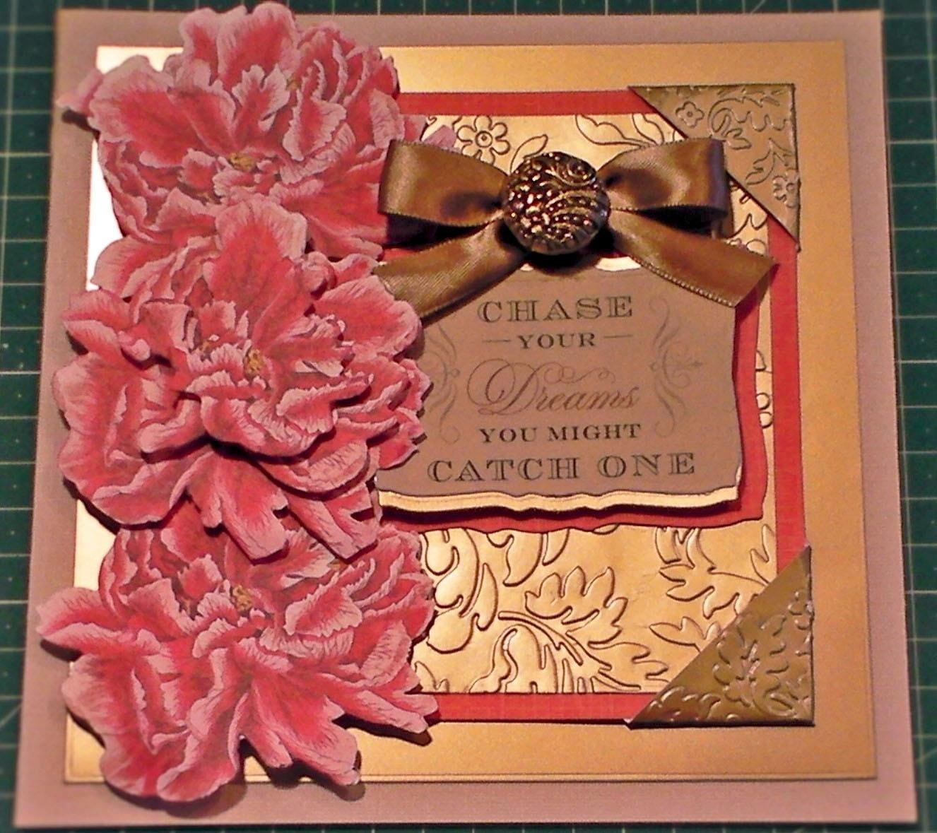 How to Make a Peony Decoupage Gold Embossed Card
