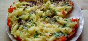 Make a cheese frittata with pasta and peppers