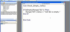 Check if a cell is empty using macros in Excel