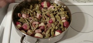 Cook green beans and ham