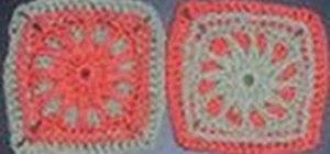 Crochet a left handed sun beam granny square