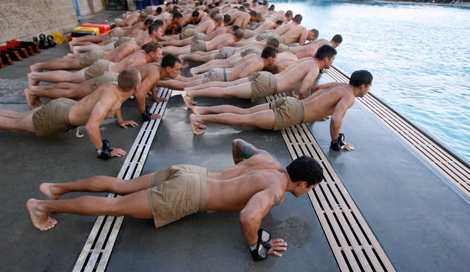 Seal Trainees Doing Pushups Prior To Drown Proof Testing