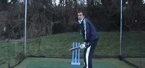 Take a batting stance in cricket