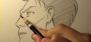 Draw a realistic male manga face in profile