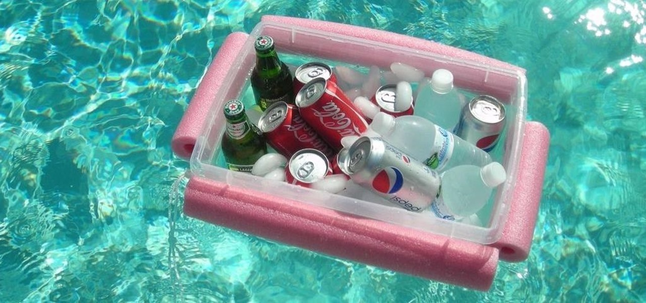 How to make a super cheap floating beer soda pool cooler for Cheapest way to build a pool