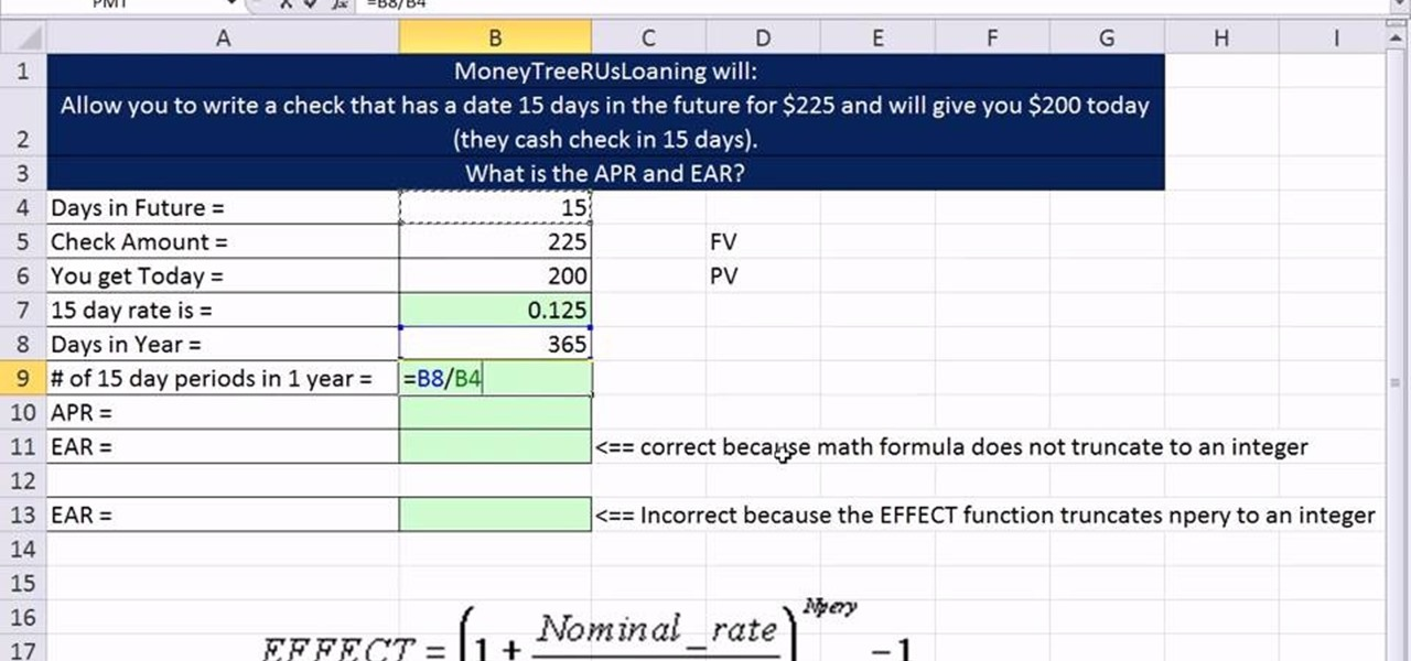 How to Calculate APR, EAR & period rates in Microsoft ...