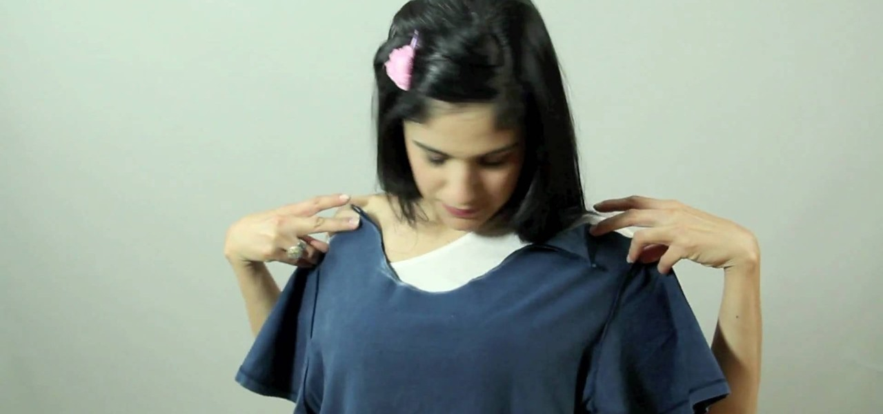 d9ac2ec0e65757 How to Repurpose an old t-shirt into a sexy open shoulder top « Sewing    Embroidery    WonderHowTo
