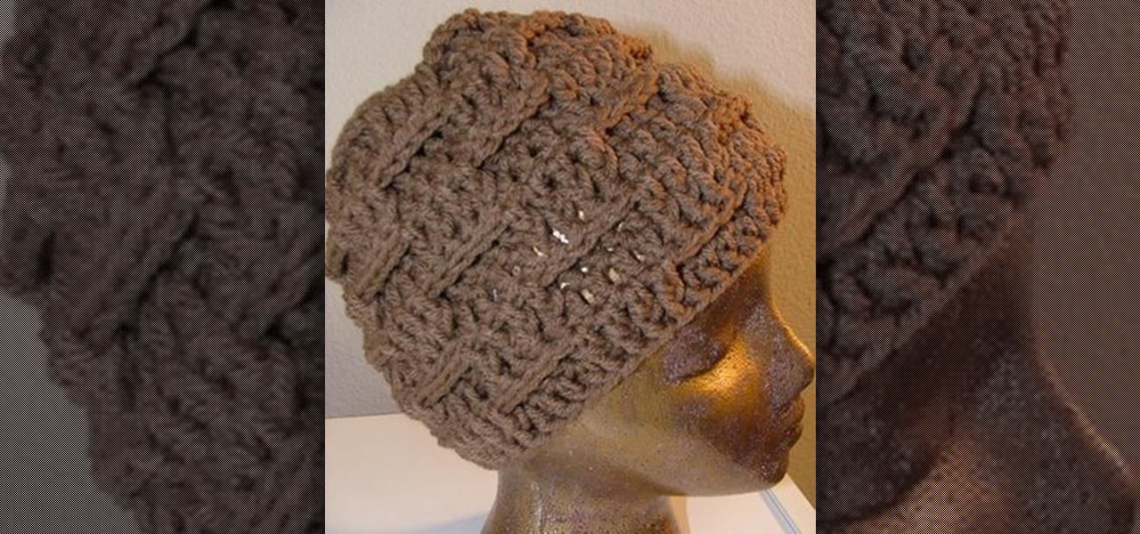 43cc96ae003 How to Crochet a basketweave patterned hat « Knitting   Crochet     WonderHowTo