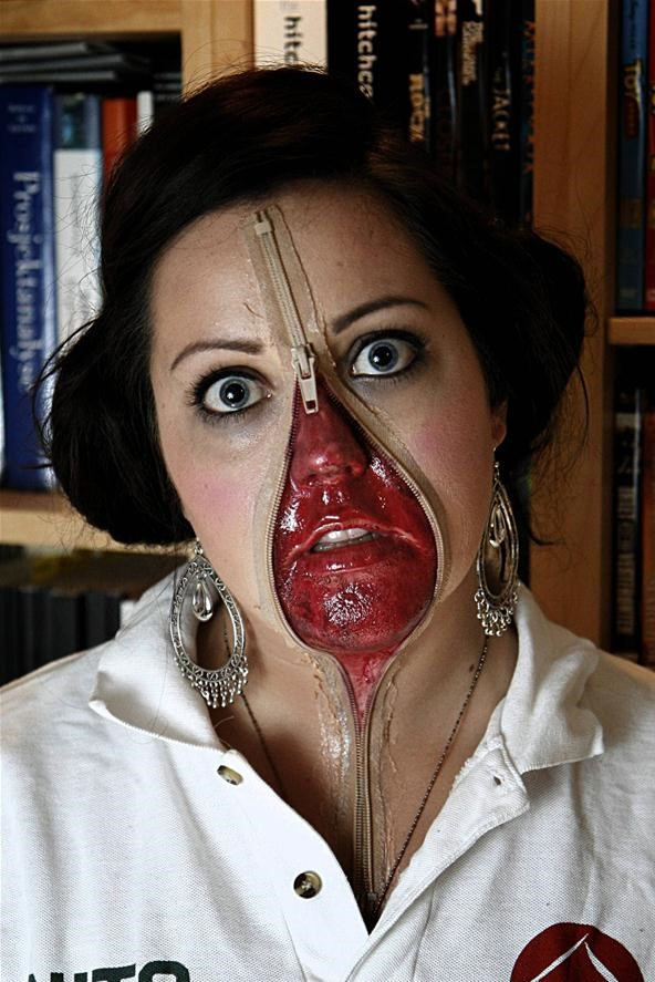 ... Halloween costume ever. Seriously. It nailed creepy down to a tee. A friend of Redditor YouHadMeAtBacon did this gory unzipped zipper face makeup ...  sc 1 st  Halloween Ideas - WonderHowTo : zipper face halloween costumes  - Germanpascual.Com