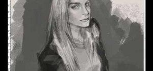 Draw a woman in 3/4 profile