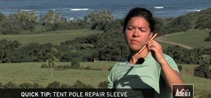 Use a tent pole repair sleeve while camping