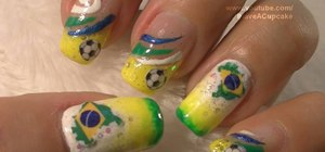 Do Brazil inspired nail art for the 2010 World Cup