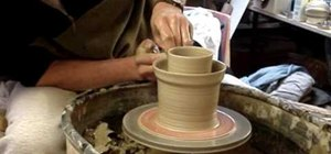 Throw and carve a double walled pottery vase