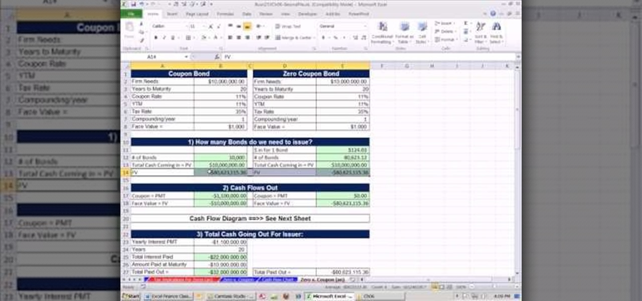 How To Compare Cash Flows For Coupon Zero Coupon Bonds In Excel