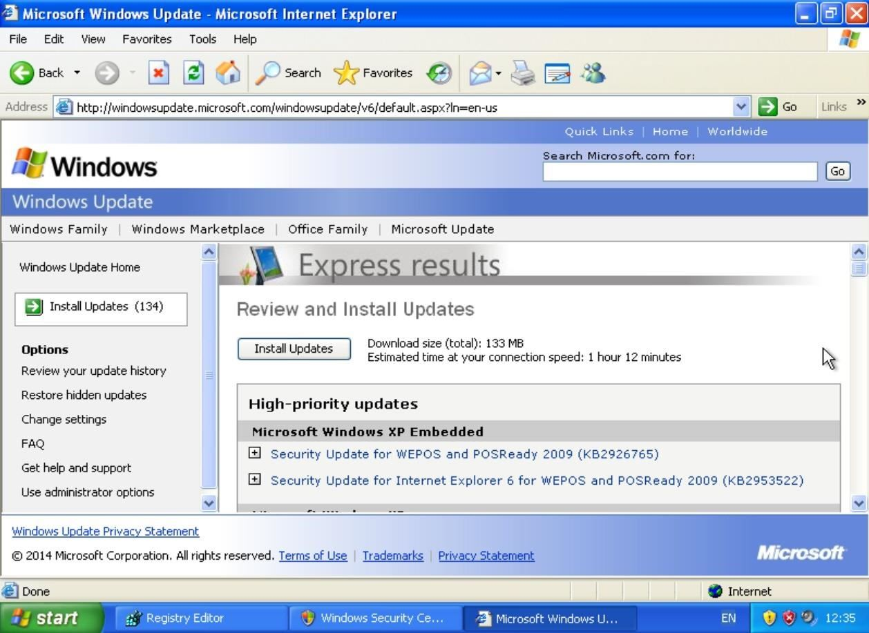 how to update windows xp manually