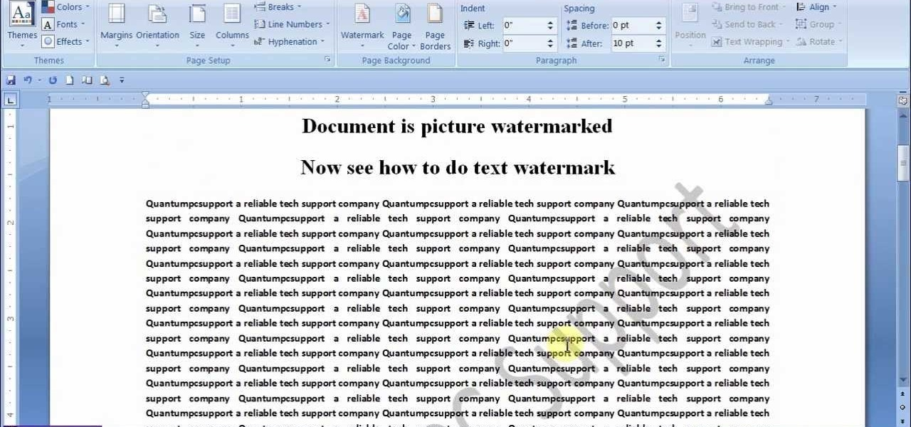 Watermark a MS Work Document