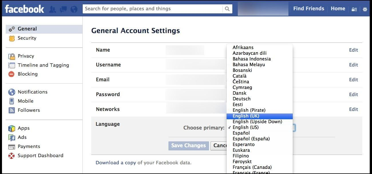 Quick Tip: Get Rid of Facebook's Graph Search (For Now) by Changing Your Language Settings