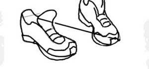 Draw a pair of running shoes on the computer