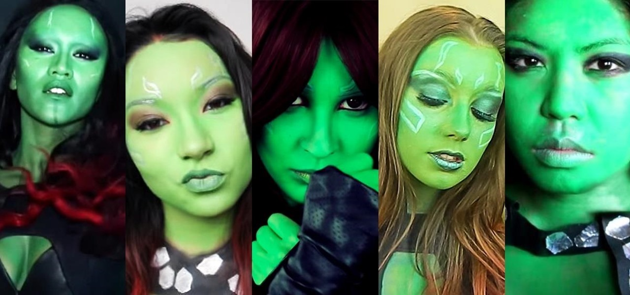 Heroes villains halloween ideas wonderhowto how to go green this halloween with these diy gamora makeup looks solutioingenieria Choice Image