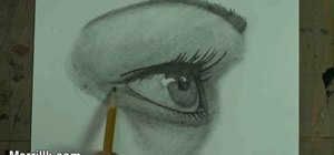 Draw the female eye from a side profile