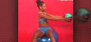 Do trunk rotation on stability ball with medicine ball