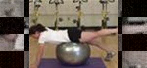 Do an alternating superman back exercise on a ball